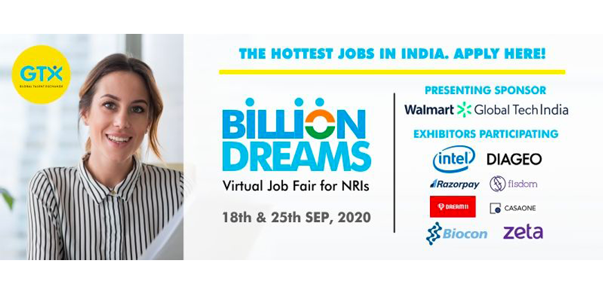 Billion Dreams – A Virtual Job Fair for NRIs Returning to India!